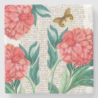 Red Peony Calligraphy Stone Coaster