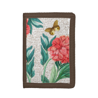 Red Peony Calligraphy Trifold Wallet