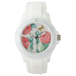 Red Peony Calligraphy Watch