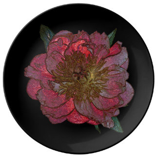 Red peony Decorative Porcelain Plate