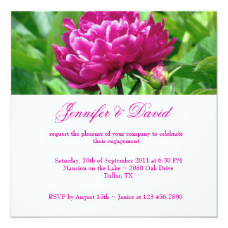 Red Peony Engagement Invitation