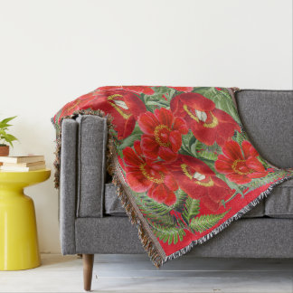 Red Peony Ferns Flowers Floral Throw Blanket