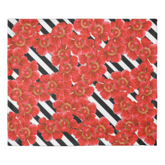 Red Peony Flowers Black White Stripes Duvet Cover