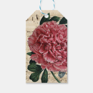 Red Peony Music Pack Of Gift Tags
