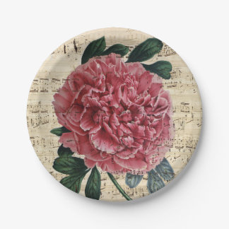 Red Peony Music Paper Plate