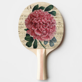 Red Peony Music Ping Pong Paddle
