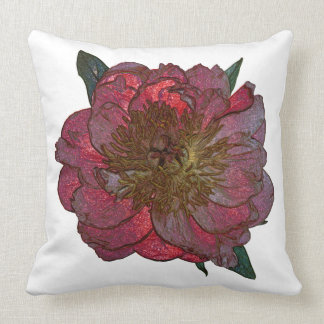 """Red peony Polyester  Throw Pillow 20"""" x 20"""""""