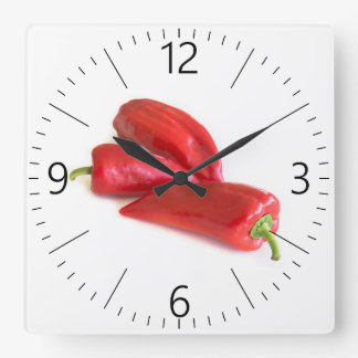 Red pepper square wall clock