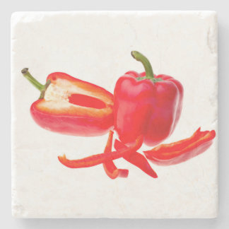 Red pepper stone beverage coaster