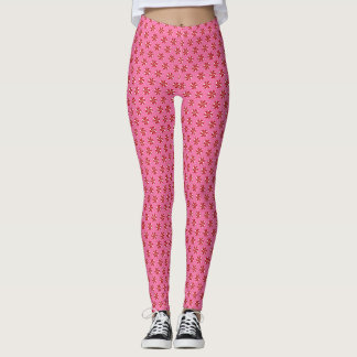 Red Peppermint Candies on Pink Holiday Leggings