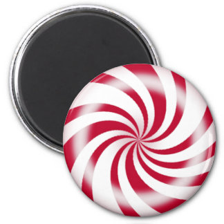 Red Peppermint Candy Round Refrigerator Magnet