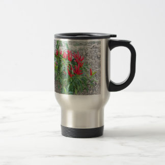 Red peppers hanging on the plant travel mug