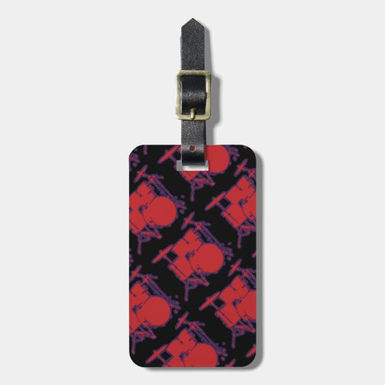 red percussion drums luggage tag