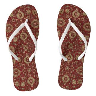 Red Persian scarlet arabesque tapestry Flip Flops