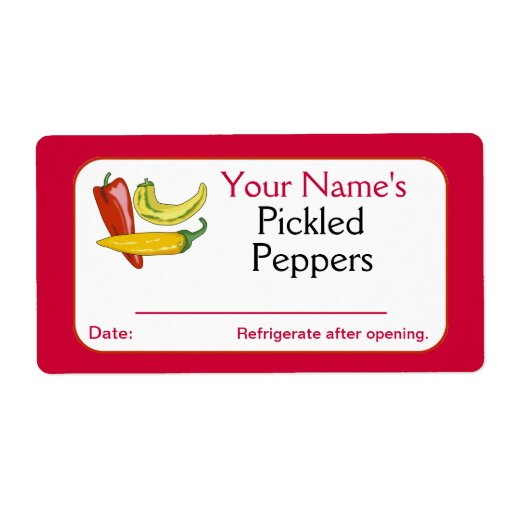 Red Personalized Canning Labels Pickled Peppers