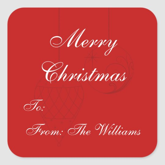 Red Personalized Christmas Gift Tag Stickers