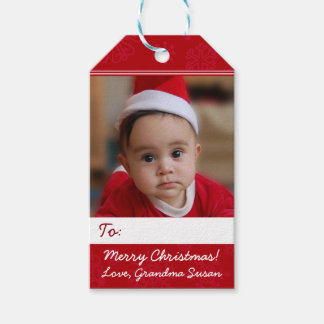 Red Personalized Christmas Holiday Photo Gift Tags