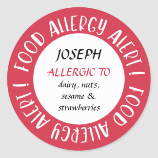 Red Personalized Food Allergy Alert Customized Classic Round Sticker