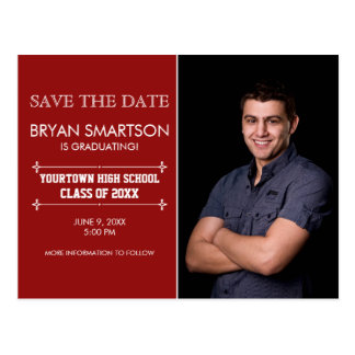 Red Personalized Photo Graduation Save the Date Postcard