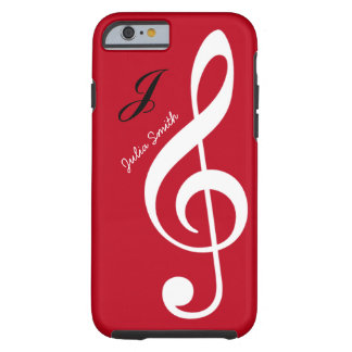 red personalized treble gclef music tough iPhone 6 case