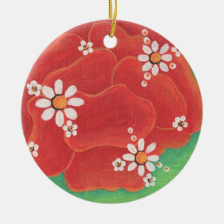 Red Petals Circle Ornament