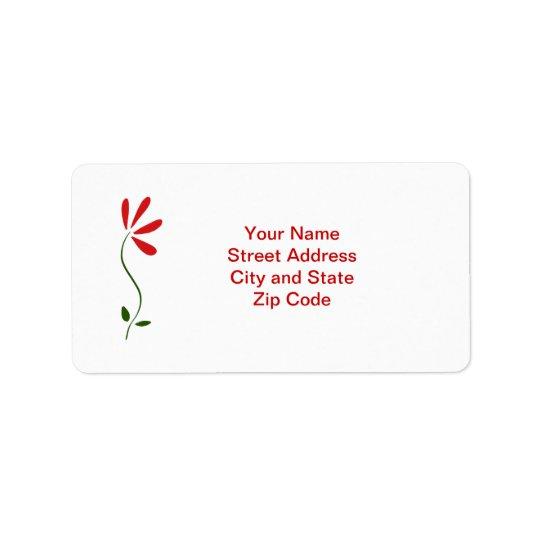 Red Petals Flower Address Label