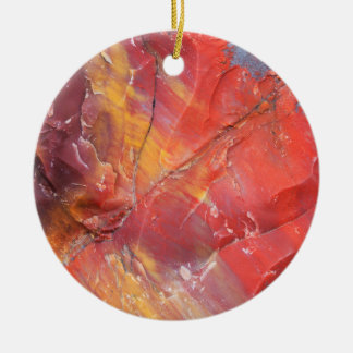 Red Petrified wood detail, Arizona Round Ceramic Ornament