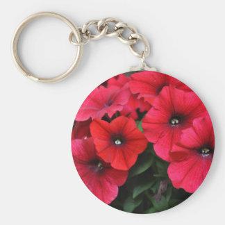 Red petunia flowers keychain