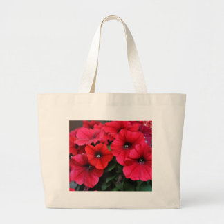 Red petunia flowers large tote bag