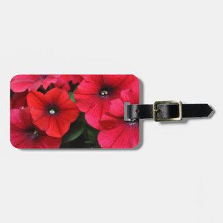 Red petunia flowers luggage tag