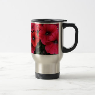 Red petunia flowers travel mug