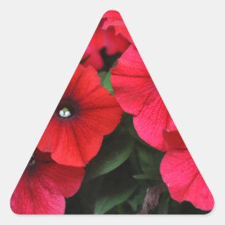 Red petunia flowers triangle sticker