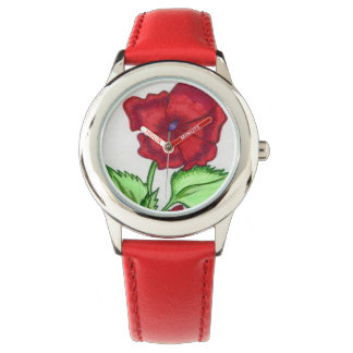 Red Petunia Wrist Watch