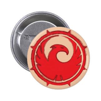 Red phoenix bird emblem badge 2 inch round button