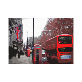 Red Phone Booth and Bus in the UK Canvas