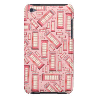 Red Phone booth pattern on pink ipod case iPod Touch Cases