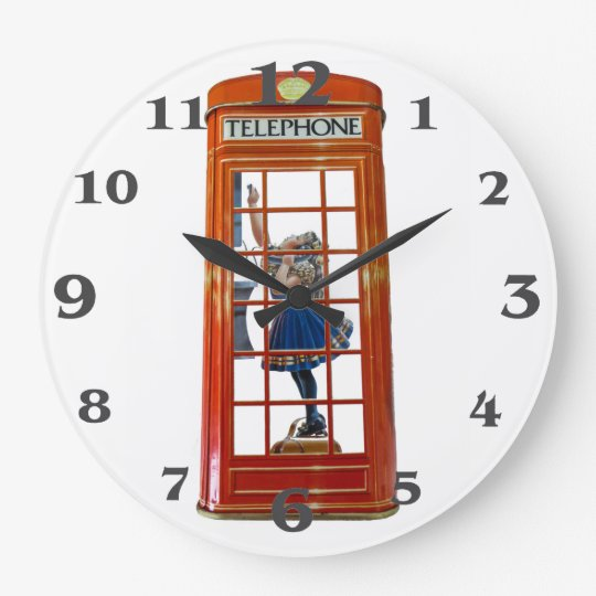 Red Phone Box for Round-Large-Wall-Clock Large Clock