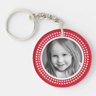 Red photo frame custom photograph personalized keychain