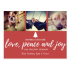 Red Photo Love Peace and Joy Christmas Postcard