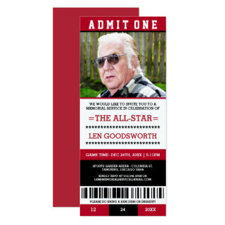 Red Photo Memorial Service Ticket Invitations