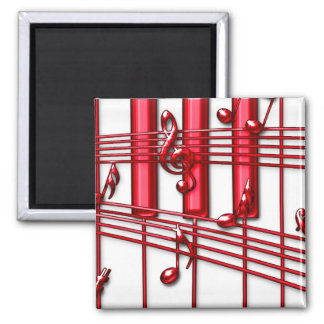 Red Piano Keyboard Magnet