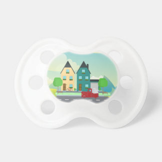 Red Pick up Truck of White Hearts Driving Pacifier