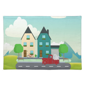 Red Pick up Truck of White Hearts Driving Placemat