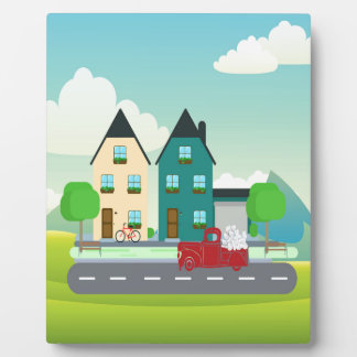 Red Pick up Truck of White Hearts Driving Plaque