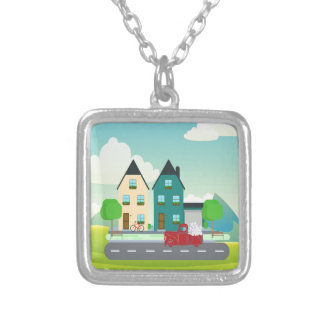 Red Pick up Truck of White Hearts Driving Silver Plated Necklace