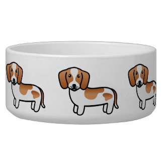 Red Piebald Smooth Coat Dachshund Cartoon Dog Pet Bowl