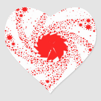 Red Pin Wheel Heart Sticker