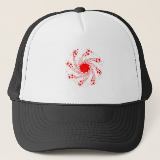Red Pin Wheel Trucker Hat