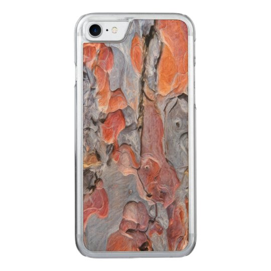 Red Pine Bark Painting Carved iPhone 7 Case