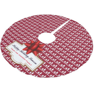 Red Pine Trees Holly and Snow Brushed Polyester Tree Skirt